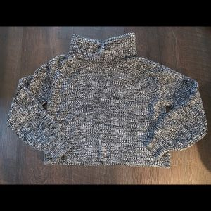 Cropped salt and pepper sweater